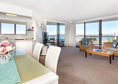 Broadwater Resort Gold Coast Open plan living/dining area